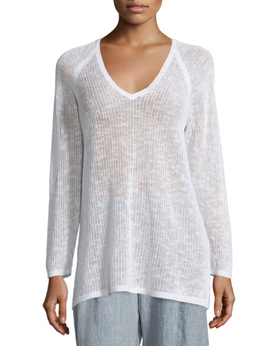 Long-Sleeve Organic-Knit Grid Tunic, White, Petite