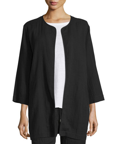 3/4-Sleeve Open-Front Organic Cotton Jacket, Black
