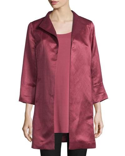 High-Collar Satin Coat, Natural