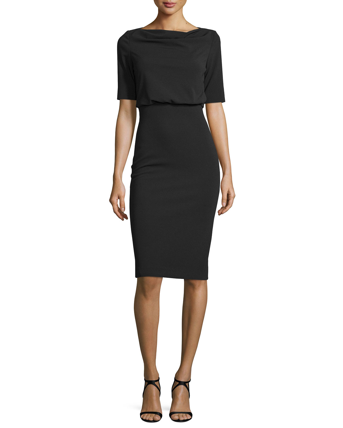 Short-Sleeve Blouson Cocktail Dress, Black