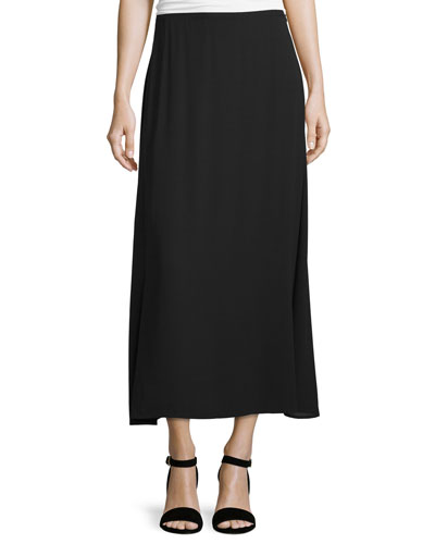 A-Line Crepe Maxi Skirt, Black