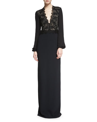Bishop-Sleeve Lace-Inset Column Gown, Black