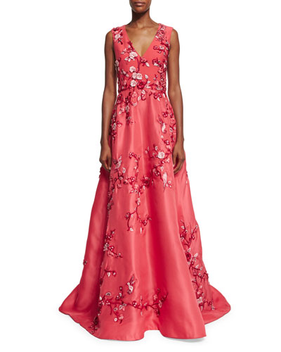 Sleeveless Bird-Embroidered A-Line Gown, Pink