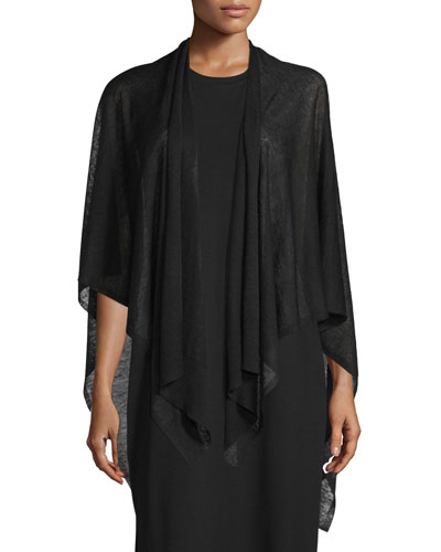 Open-Front Sheer Hemp Knit Poncho/Wrap, Black