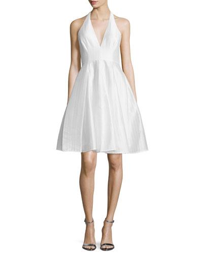Jacquard Halter Party Dress, Chalk