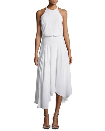 Sleeveless T-Back Handkerchief Midi Dress