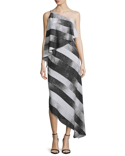 One-Shoulder Striped Asymmetric Dress, Black/Chalk Stardust