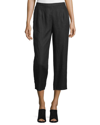 Mid-Rise Straight-Leg Cropped Pants, Black