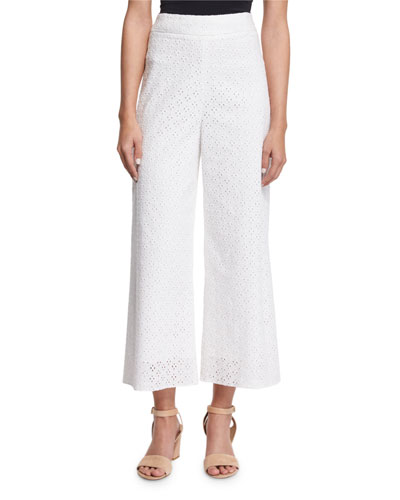 Cropped Eyelet Pants, White