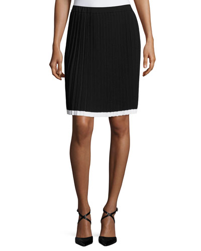 Contrast-Tipped Pleated Sweater Skirt, Black