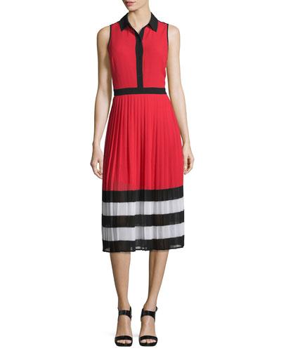 Billerly Striped Pleated A-Line Midi Dress, Red Blaze