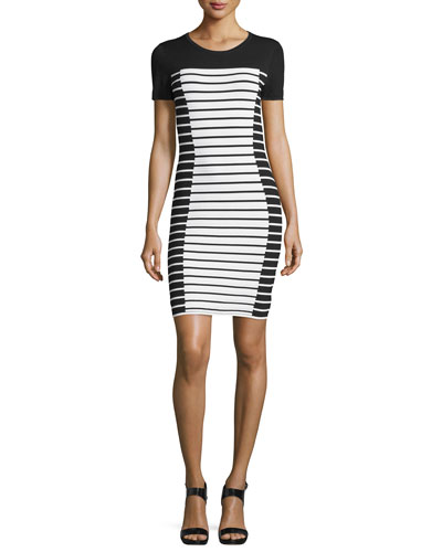 Short-Sleeve Striped T-Shirt Dress, White/Black