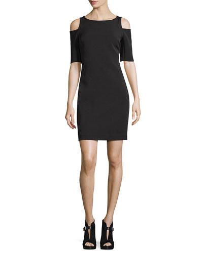 Structured Bateau-Neck Cold-Shoulder Dress, Black
