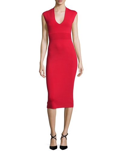Cap-Sleeve V-Neck Midi Sheath Dress