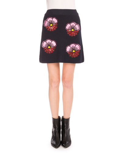 Embroidered Tanami Flower A-Line Skirt, Midnight Blue