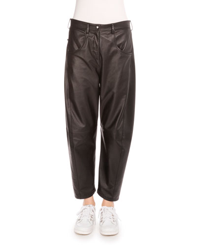 Slouchy Cropped Leather Pants, Black