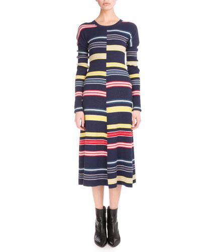 Long-Sleeve Colorblock Stripe Midi Dress, Midnight Blue