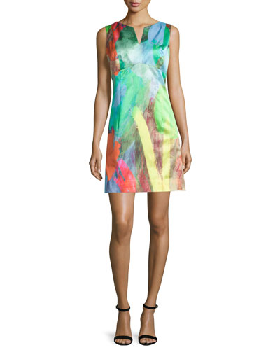 Sleeveless Tulip-Print Mini Dress, Poppy