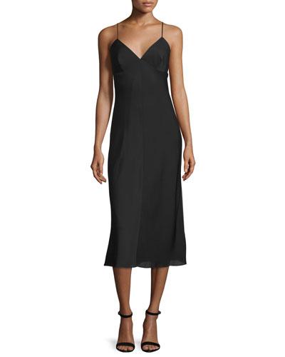 Sleeveless V-Neck Midi Dress, Black
