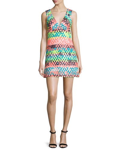 Bridgette Sleeveless V-Neck Mini Dress, Multi Colors