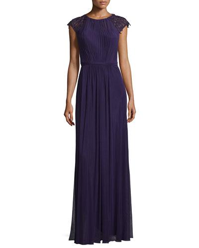 Beaded-Sleeve Pleated Crepe Gown, Plum