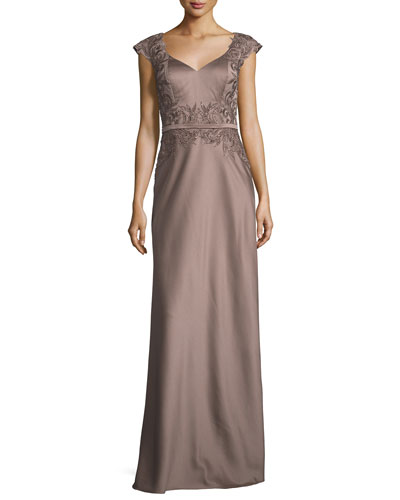 Embellished Faille Cap-Sleeve Gown, Cocoa