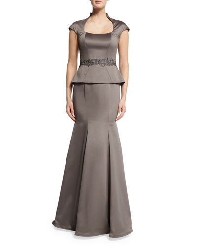 Cap-Sleeve Satin Peplum Gown, Pewter