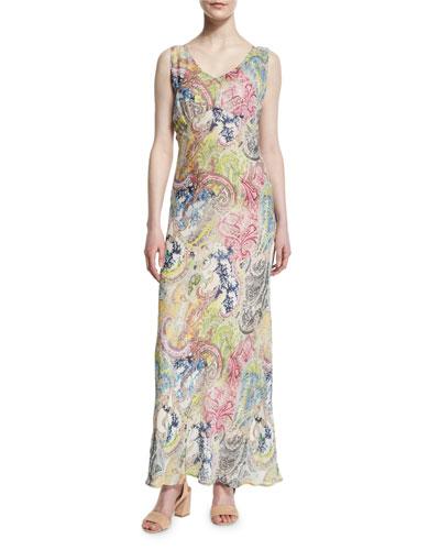 Sleeveless Tropical-Print Maxi Dress, Multi Colors