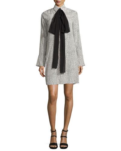 Long-Sleeve Scale-Print Tie-Neck Shirtdress, Cream