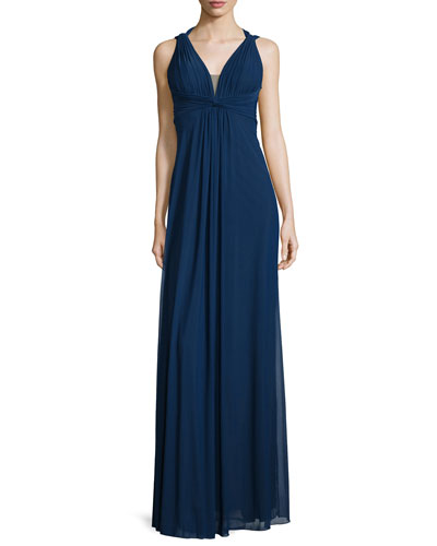 Draped Sleeveless V-Neck Gown, Navy