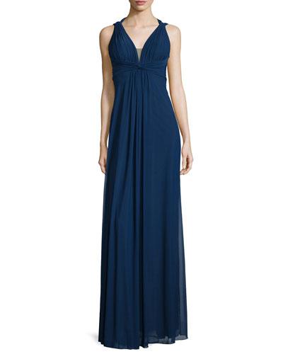 Draped Sleeveless V-Neck Gown, Navy