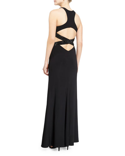 Sleeveless Crewneck Crisscross Gown, Black