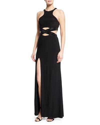 Sleeveless Crewneck Crisscross Gown, Black