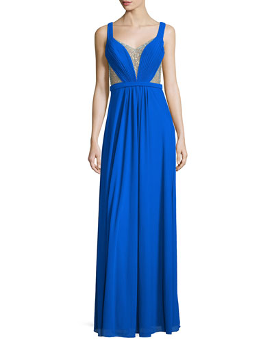 Sleeveless Illusion Beaded V-Neck Gown, Electric Blue