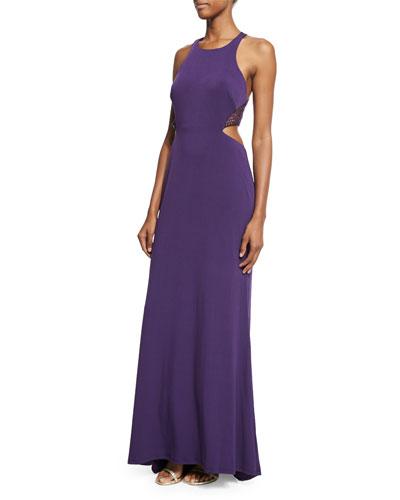 Sleeveless Crewneck Cutout Halter Gown, Plum