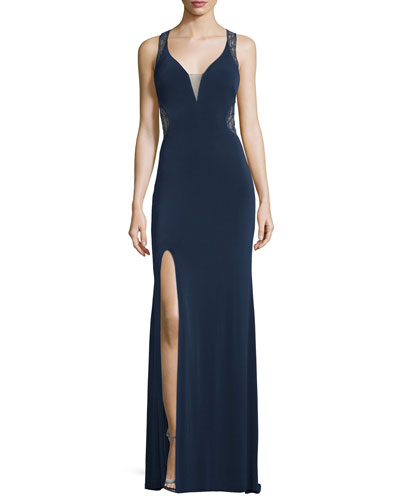 Sleeveless V-Neck Lace Illusion Gown, Navy