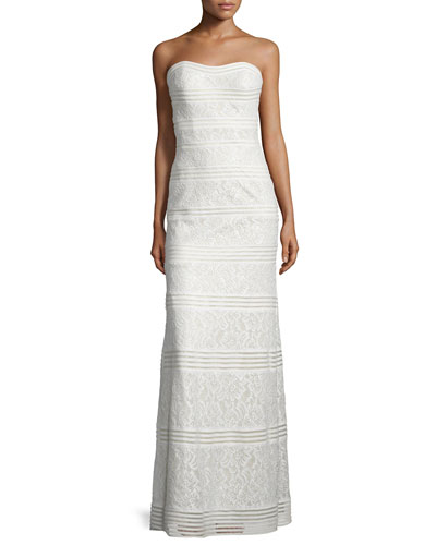 Strapless Sweetheart Lace Column Gown