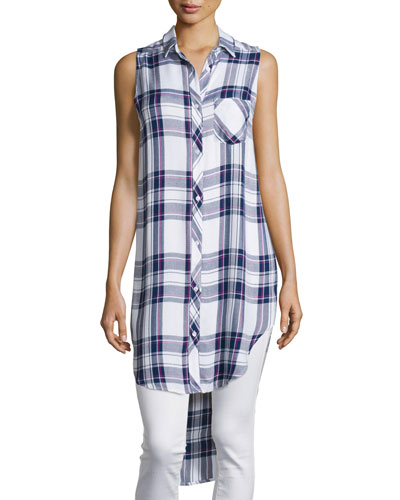 Jordyn Plaid Sleeveless High-Low Tunic, White/Navy/Orchid