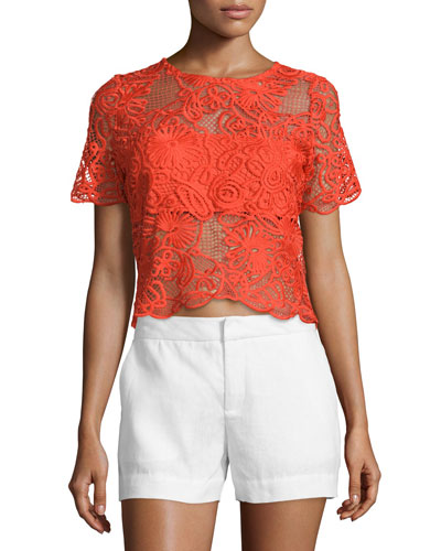 Montana Short-Sleeve Crochet Top, Candela Crochet