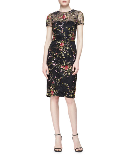 Short-Sleeve Floral Embroidered Cocktail Dress