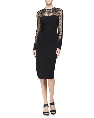Long-Sleeve Embroidered Jersey Cocktail Dress