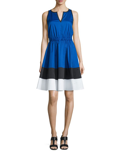 sleeveless colorblock stretch-cotton fit & flare dress