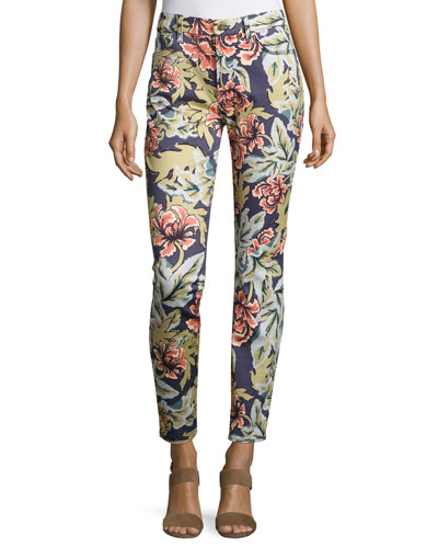 Hibiscus Palm-Print Skinny Ankle Jeans, Blue/Multi