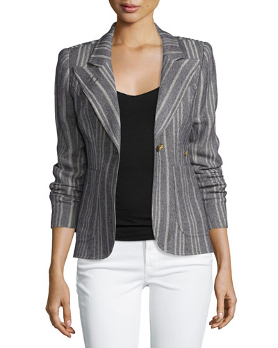 Duchess Tweed Single-Button Blazer w/Suede Elbow Patches