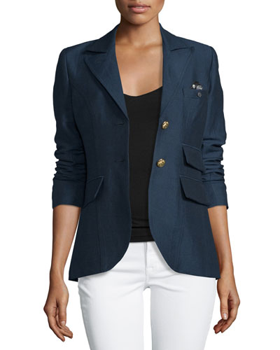 Dandy Two-Button Blazer w/Leather Elbow Patches, Navy