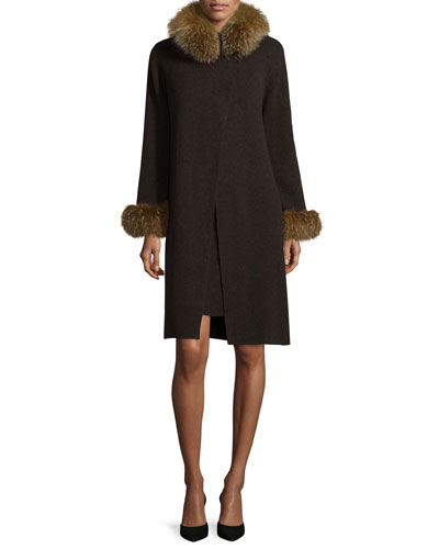 Fox Fur-Trimmed Cashmere Cardigan & Dress Set, Cinder