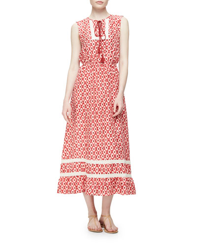 smocked-waist ikat midi dress, red chestnut/multi