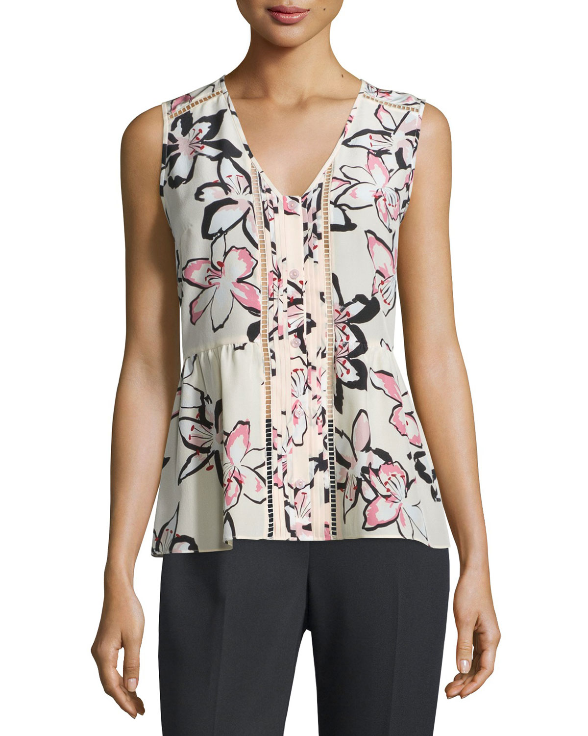 sleeveless v-neck pleated floral top, antilles bubbles