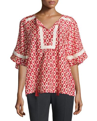 short-sleeve ikat-print crochet-trim top, red chestnut/multi