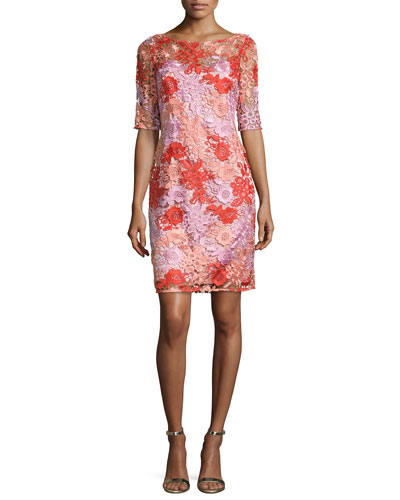 Half-Sleeve Floral Lace Cocktail Dress